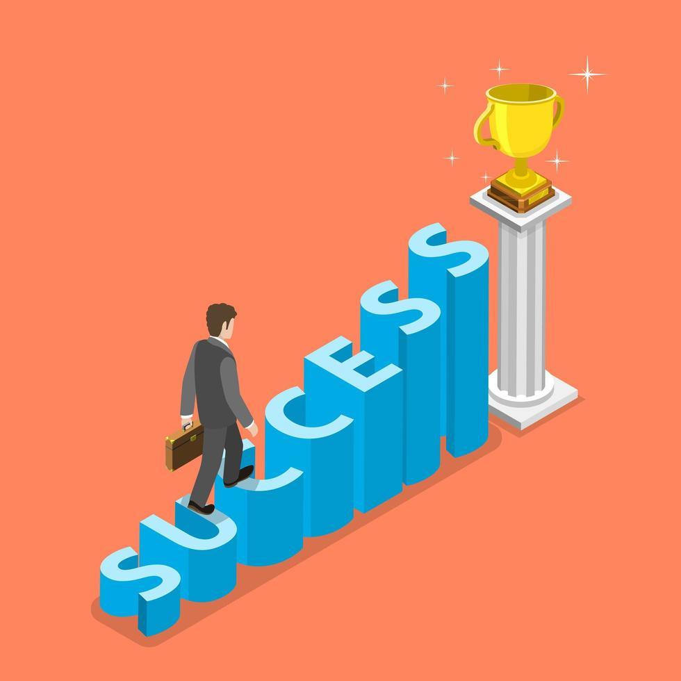 uomo d'affari alking fino alle scale che compitano il successo vettore