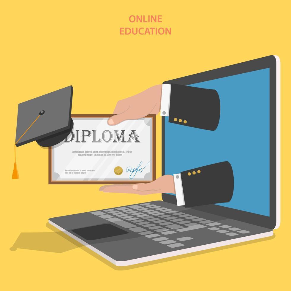 mani in possesso di diploma di laptop con cappello di laurea vettore