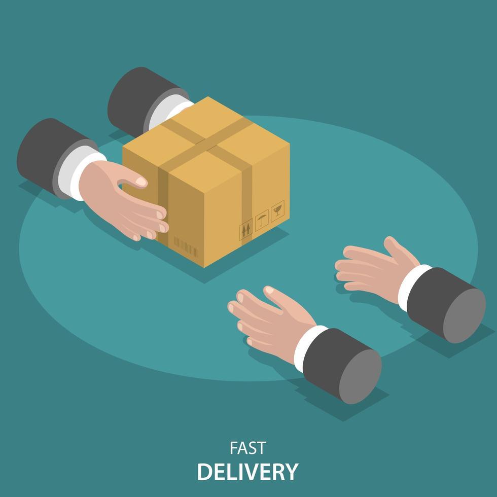 mani del fattorino che danno pacchetto alle mani del cliente vettore