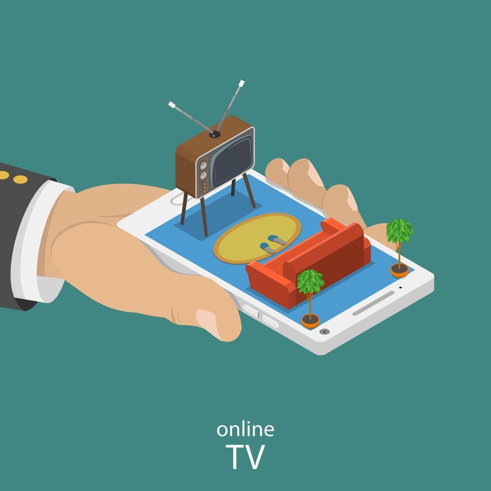 design piatto isometrico tv online vettore