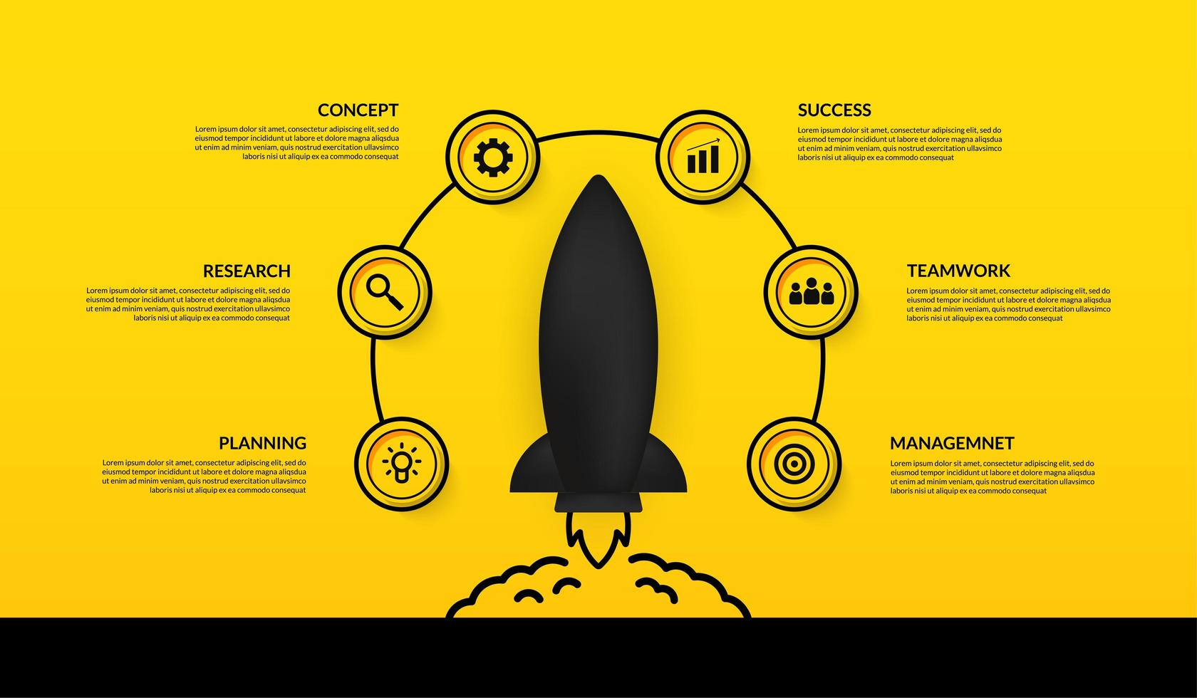 infografica con l'astronave di lancio circondata da icone vettore