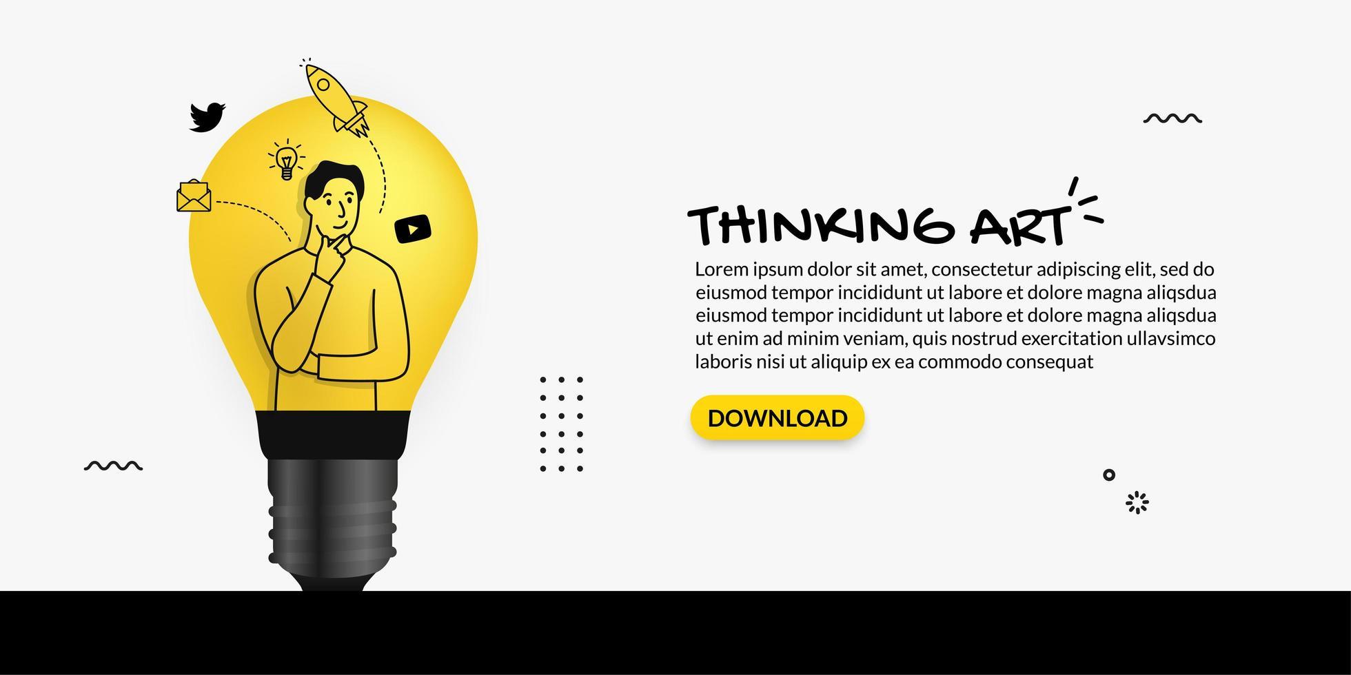 creatore di contenuti pensando all'interno della lampadina vettore
