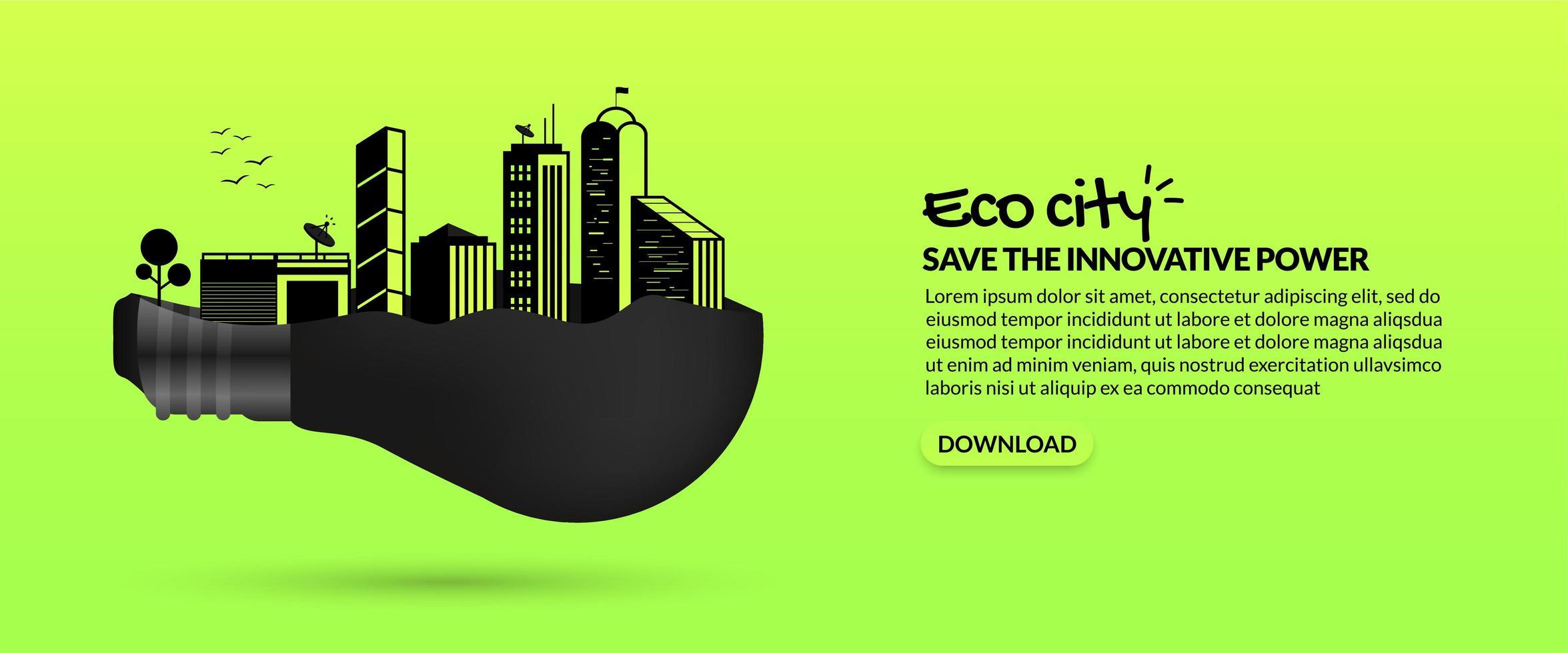futura città intelligente eco all'interno della lampadina vettore