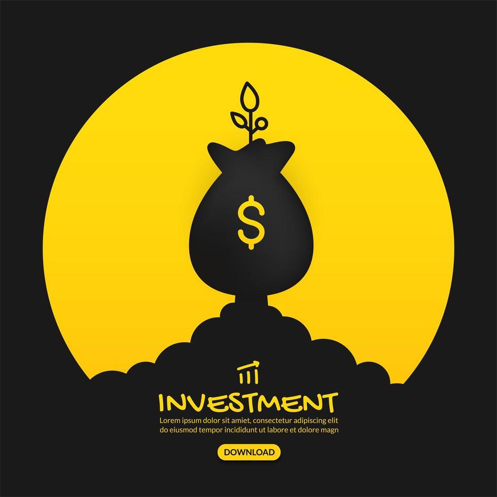 lancio del sacco di soldi con il disegno di investimento della pianta vettore