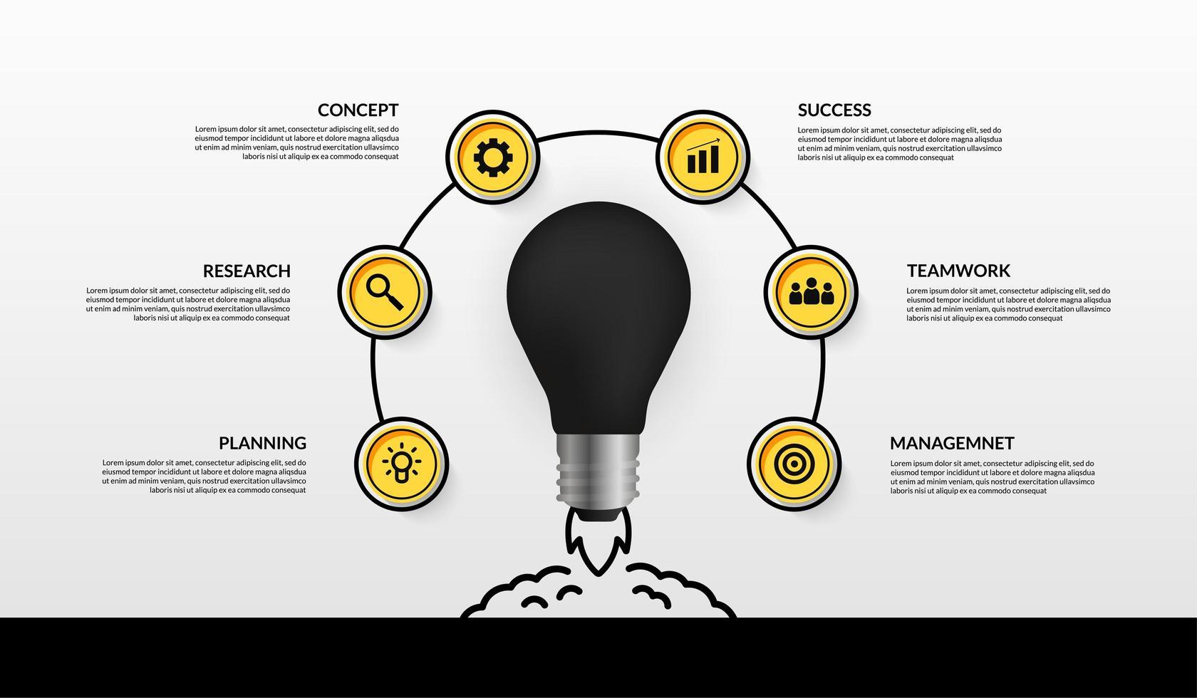 lanciare affari lampadina avviare infografica vettore