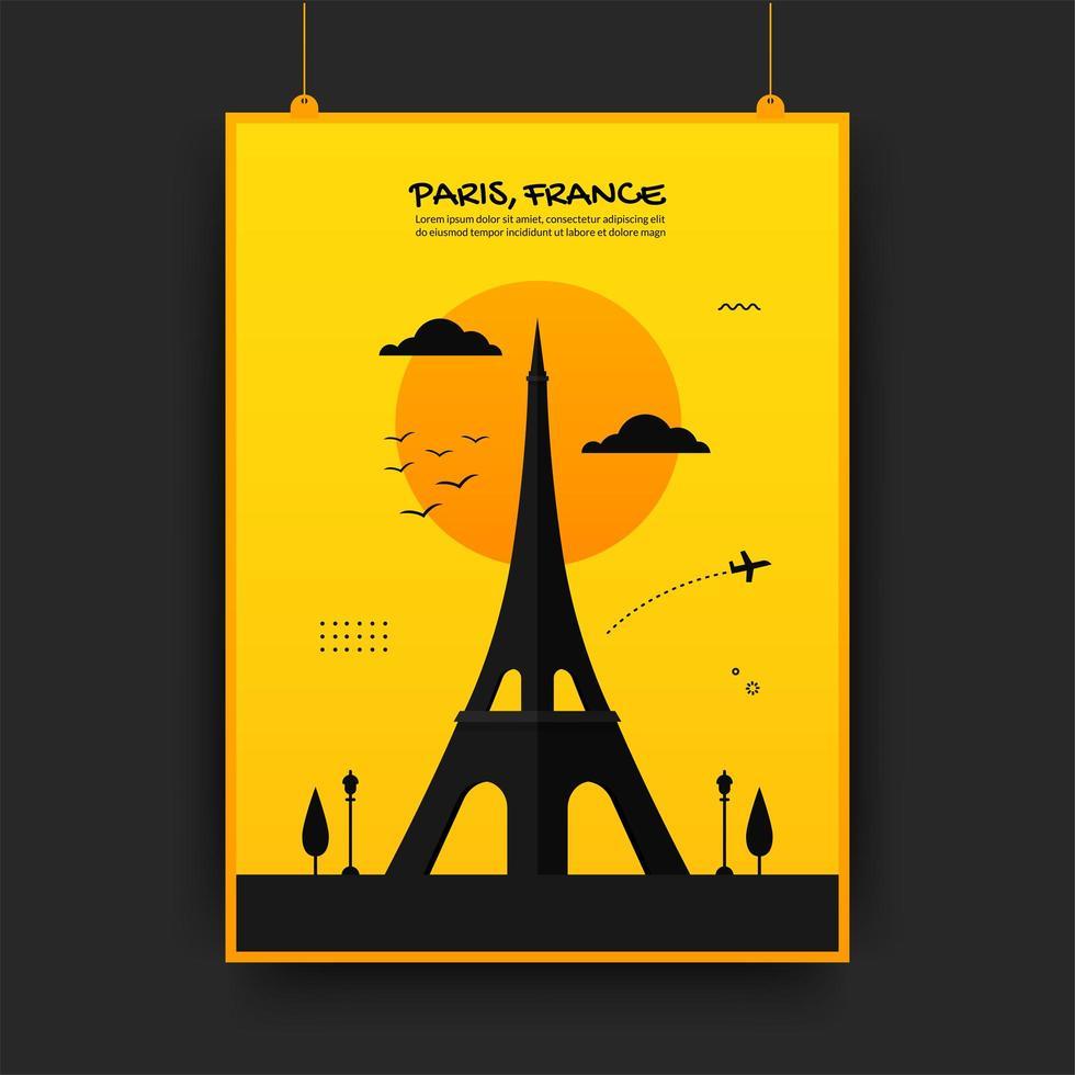 poster di viaggio Francia in giallo e nero vettore