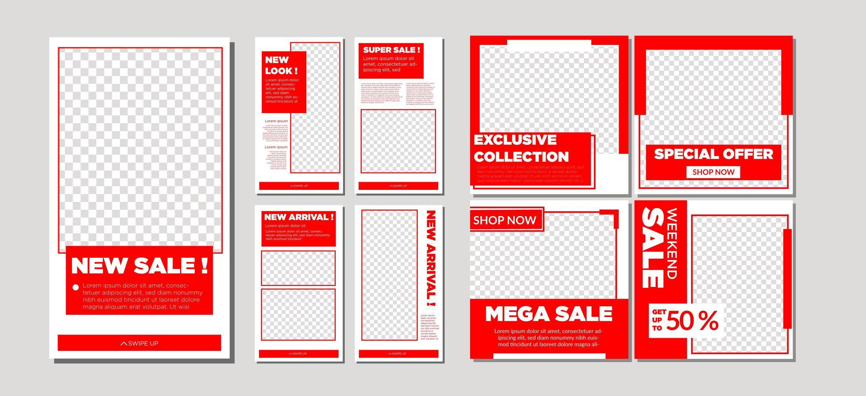 collezione di vendita di social media rosso e bianco vettore