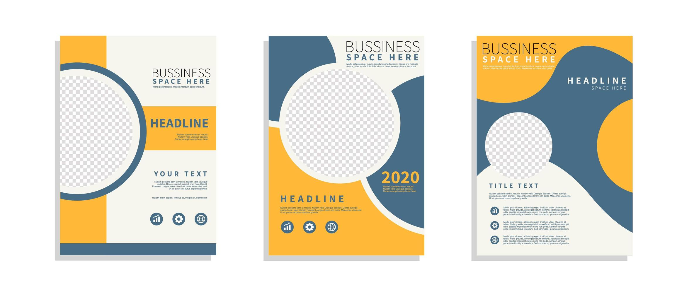 set di poster moderno arancione e blu business flyer vettore