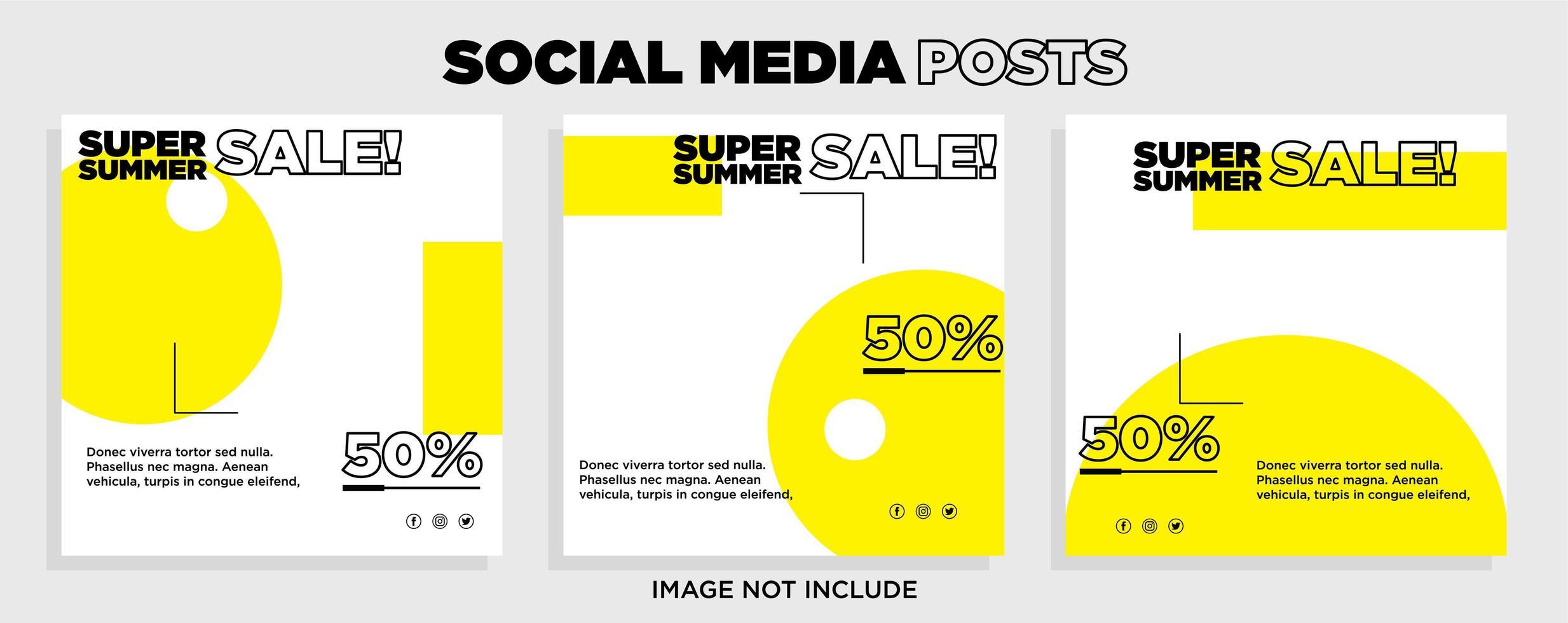 modelli di vendita di social media geometrici bianchi e gialli vettore