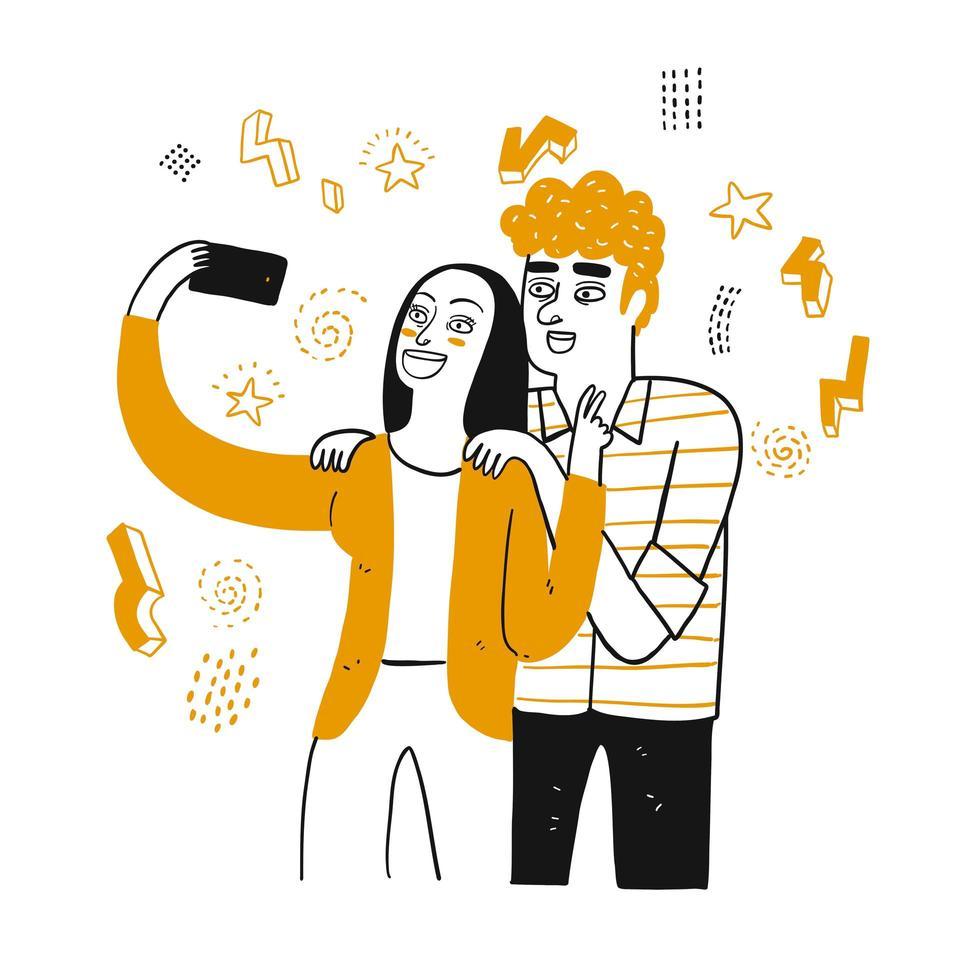coppia disegnata a mano prendendo selfie vettore