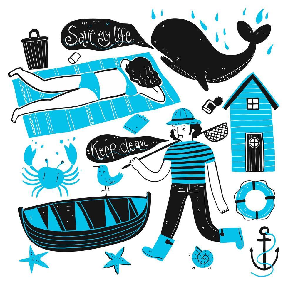pescatore disegnato a mano e set turistico vettore