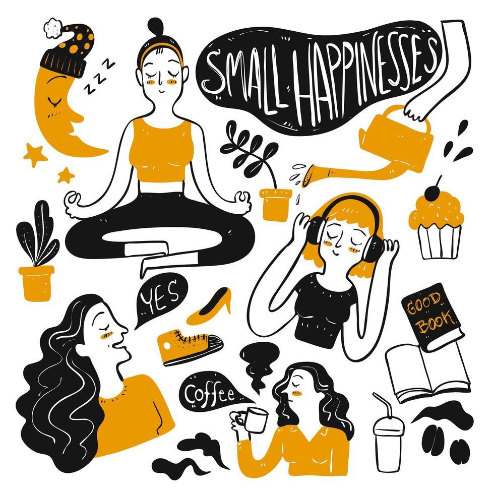 donne disegnate a mano e articoli di felicità estiva vettore