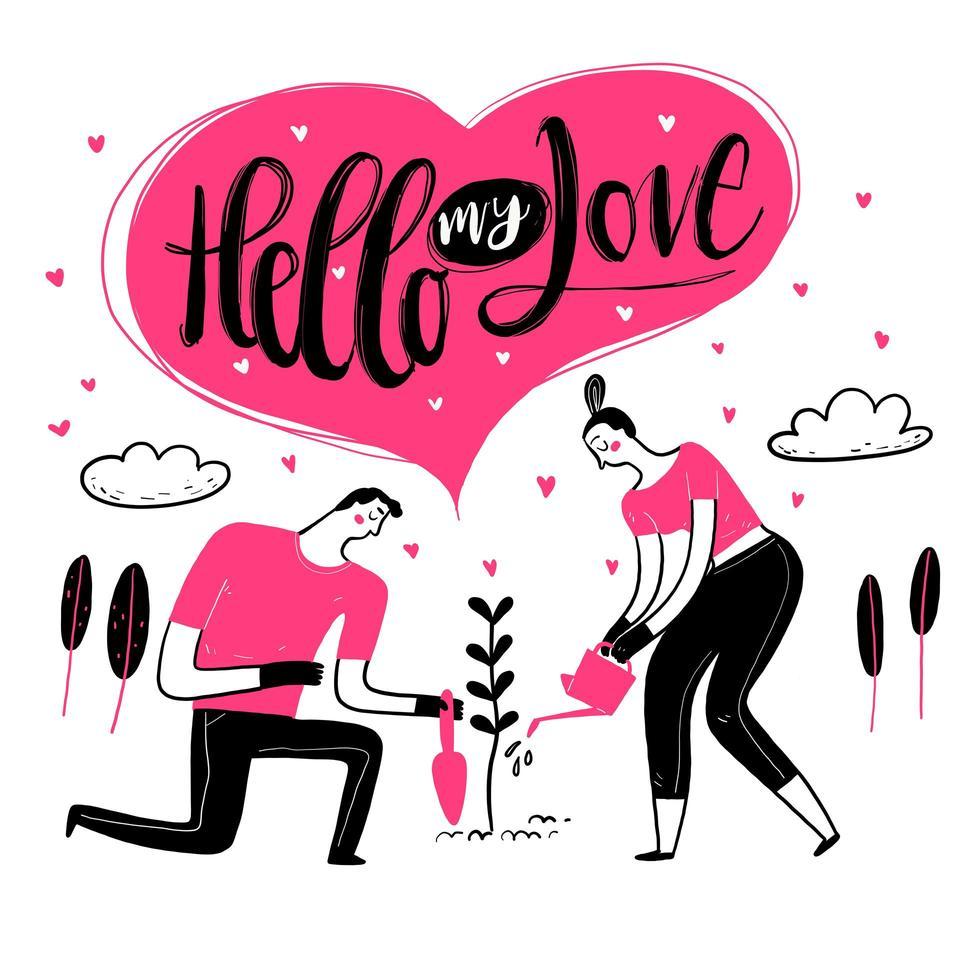 coppia disegnata a mano nella pianta di innaffiatura di amore vettore