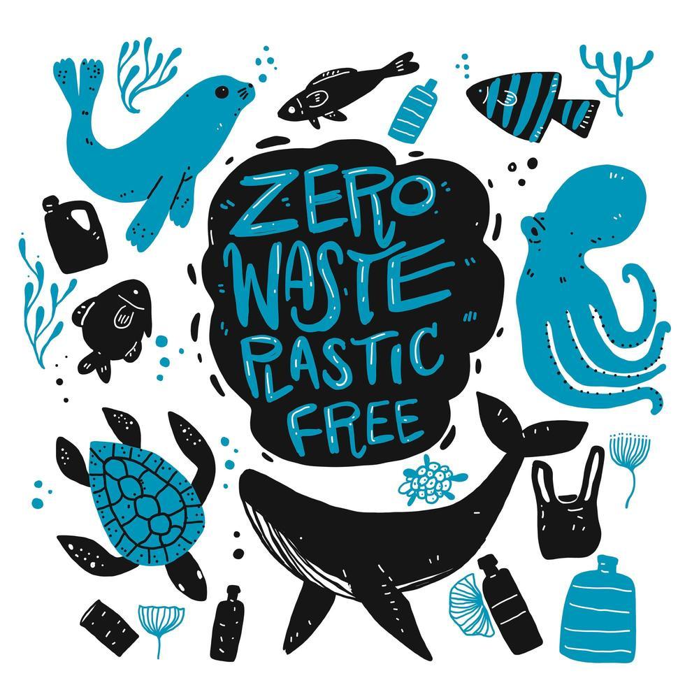 animali marini disegnati a mano e articoli di riciclaggio vettore