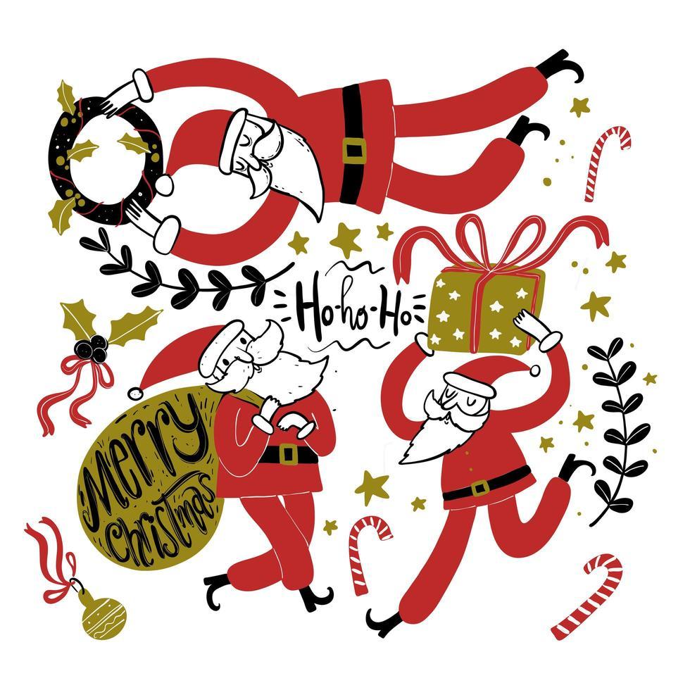Babbo Natale disegnato a mano in diverse posture vettore