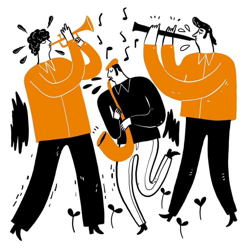 musicisti che suonano la tromba, il sassofono, il clarinetto vettore