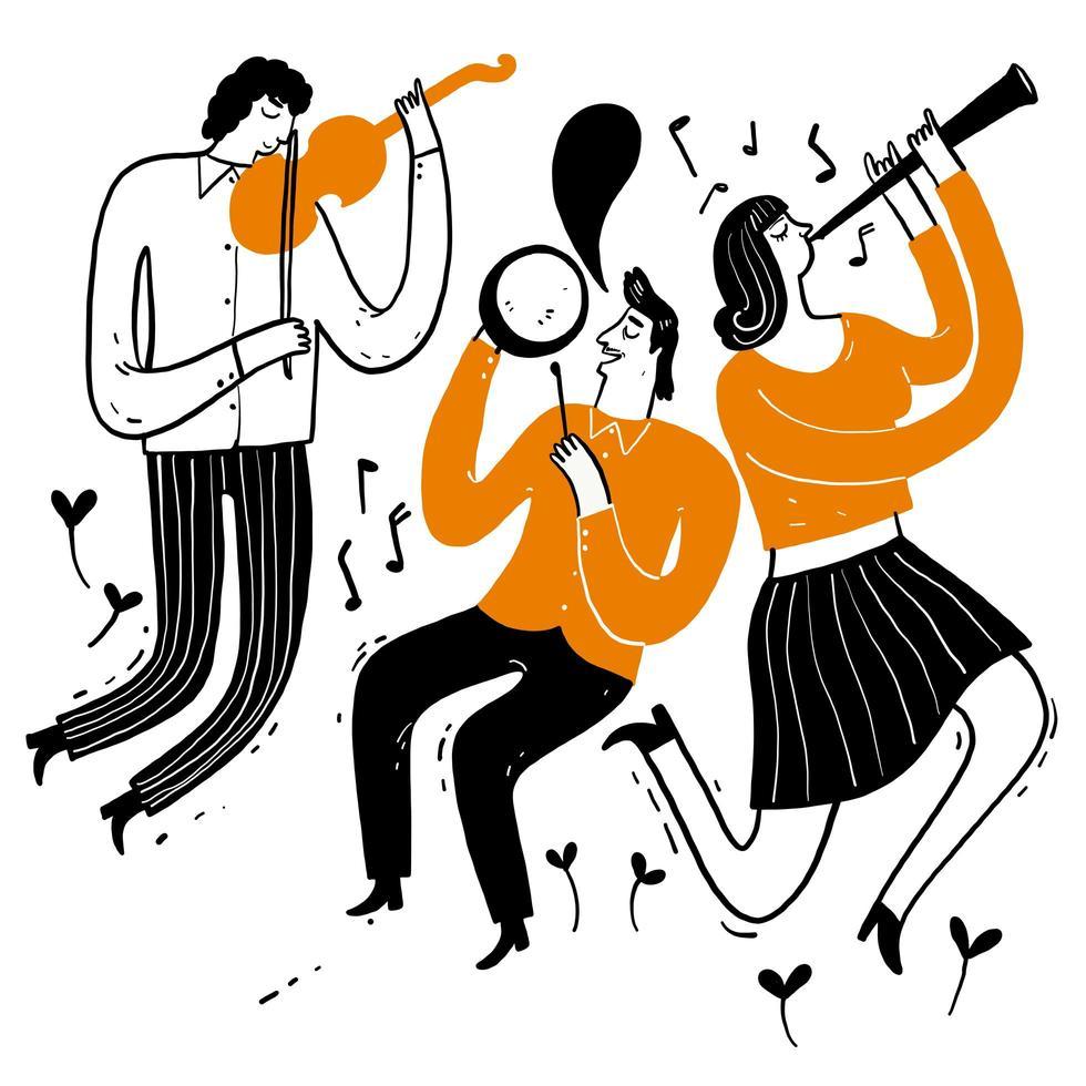 musicisti che suonano violini, clarinetto, batteria vettore