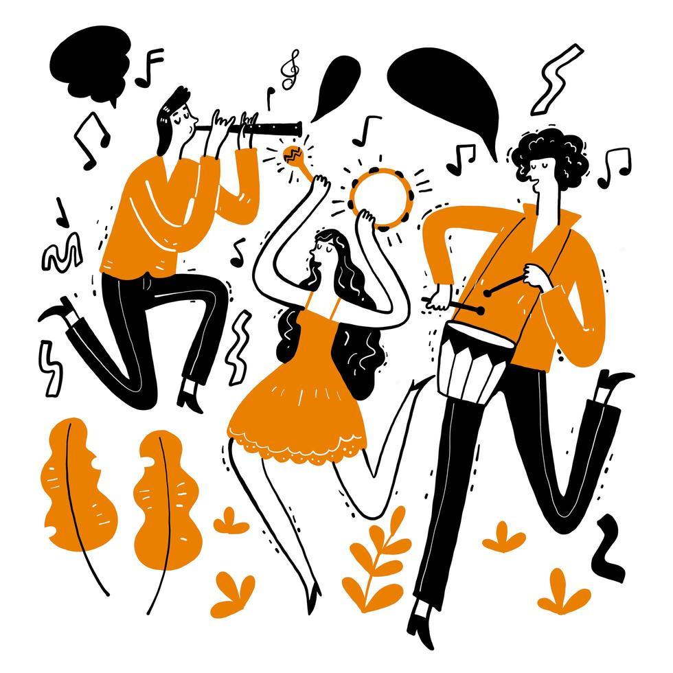 musicisti disegnati a mano che suonano musica vettore