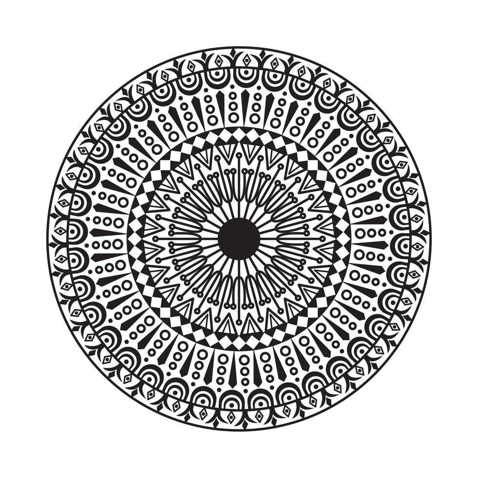 mandala cerchio decorativo bianco e nero vettore