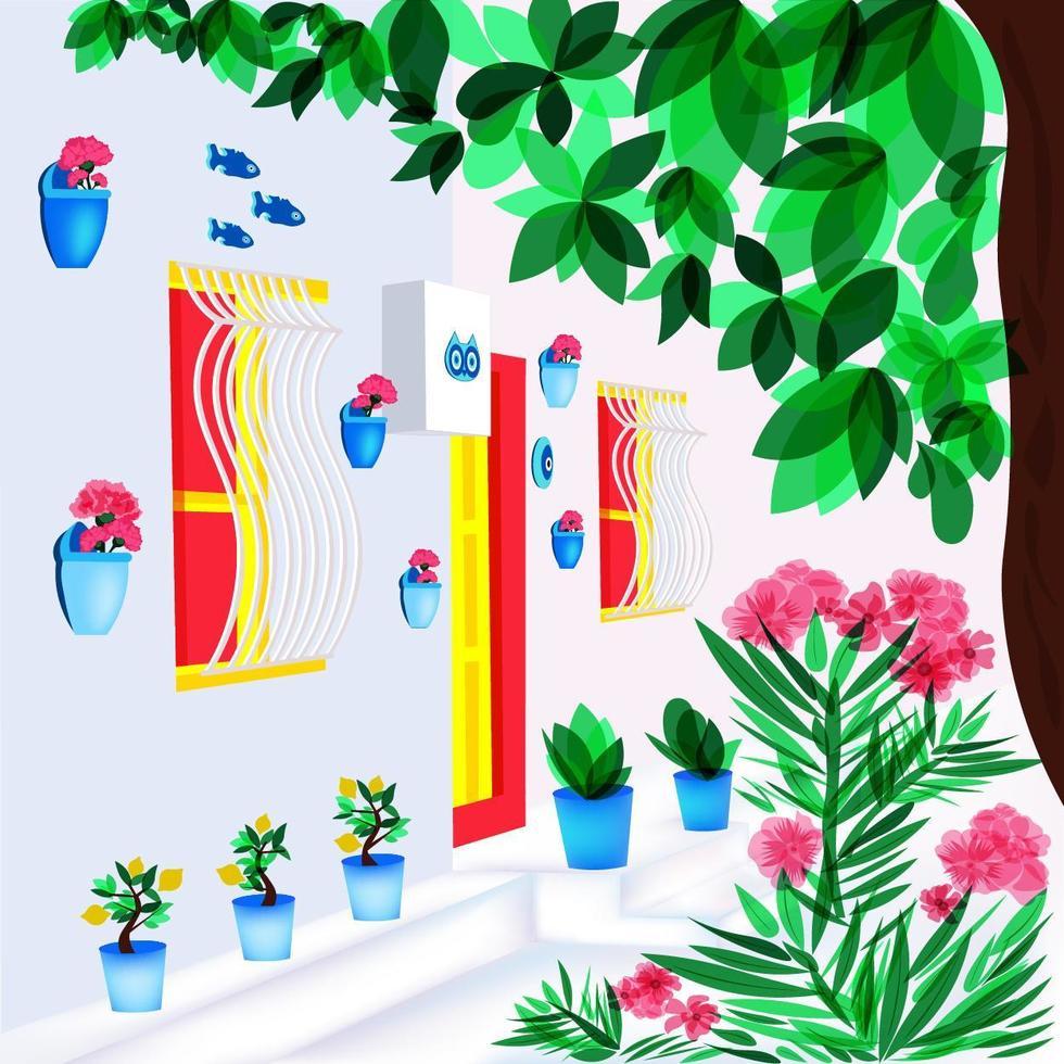 facciata e paesaggio della casa di estate turca vettore