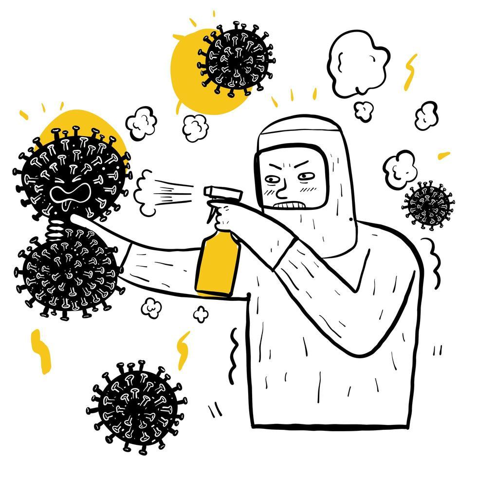 uomo disegnato a mano in tuta spruzzando virus vettore
