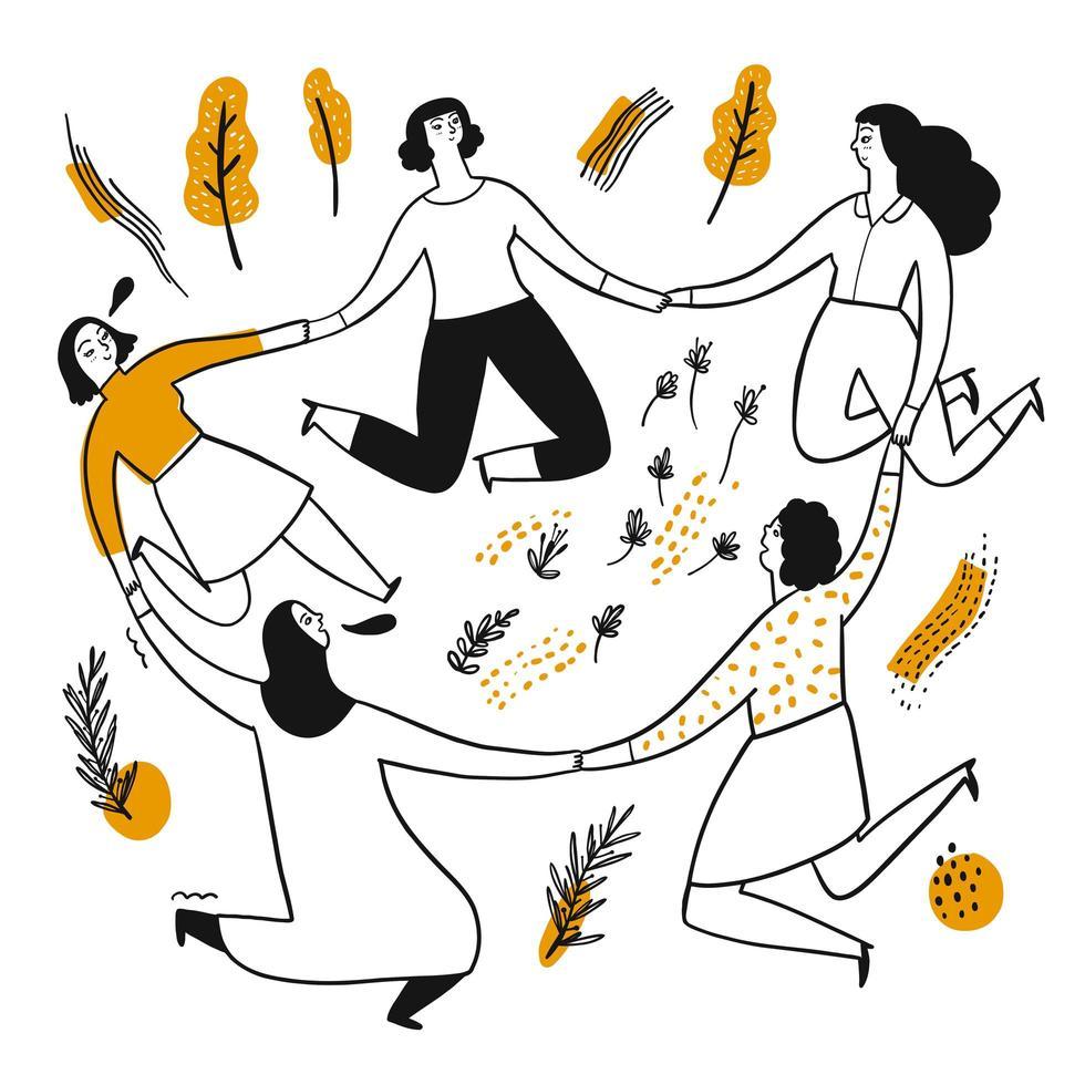 le donne disegnate a mano tengono le mani in un cerchio vettore