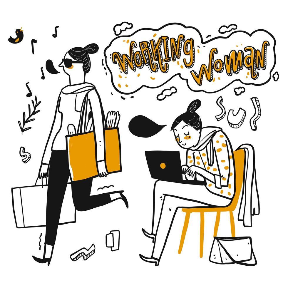 donna lavoratrice disegnata a mano che ha una buona giornata vettore