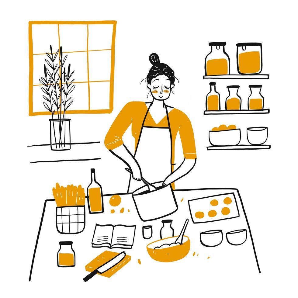 giovane donna disegnata a mano che cucina nella cucina vettore