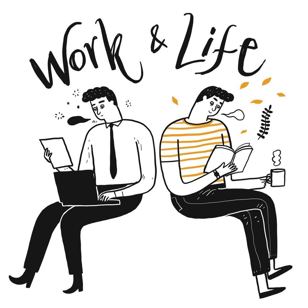 uomini disegnati a mano seduti e lavorando vettore