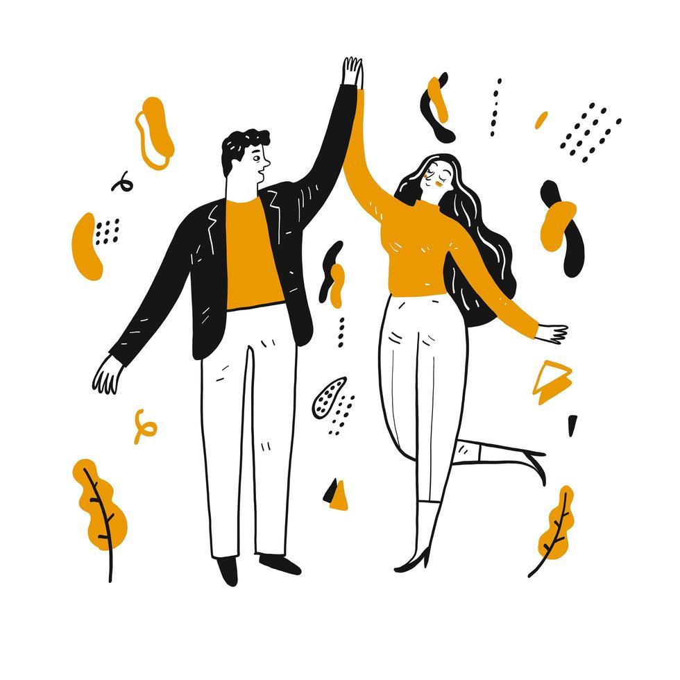 disegnati a mano felice coppia danzante vettore