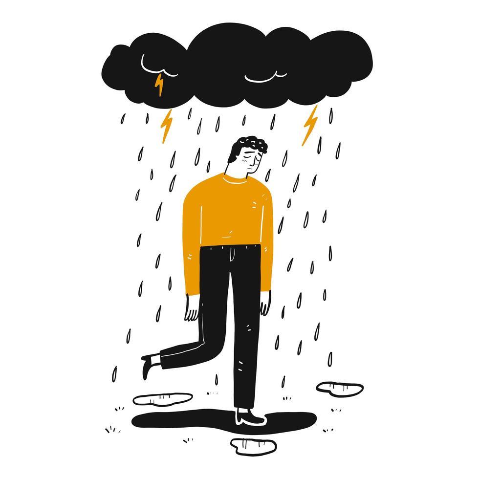 uomo triste disegnato a mano sotto la nuvola vettore