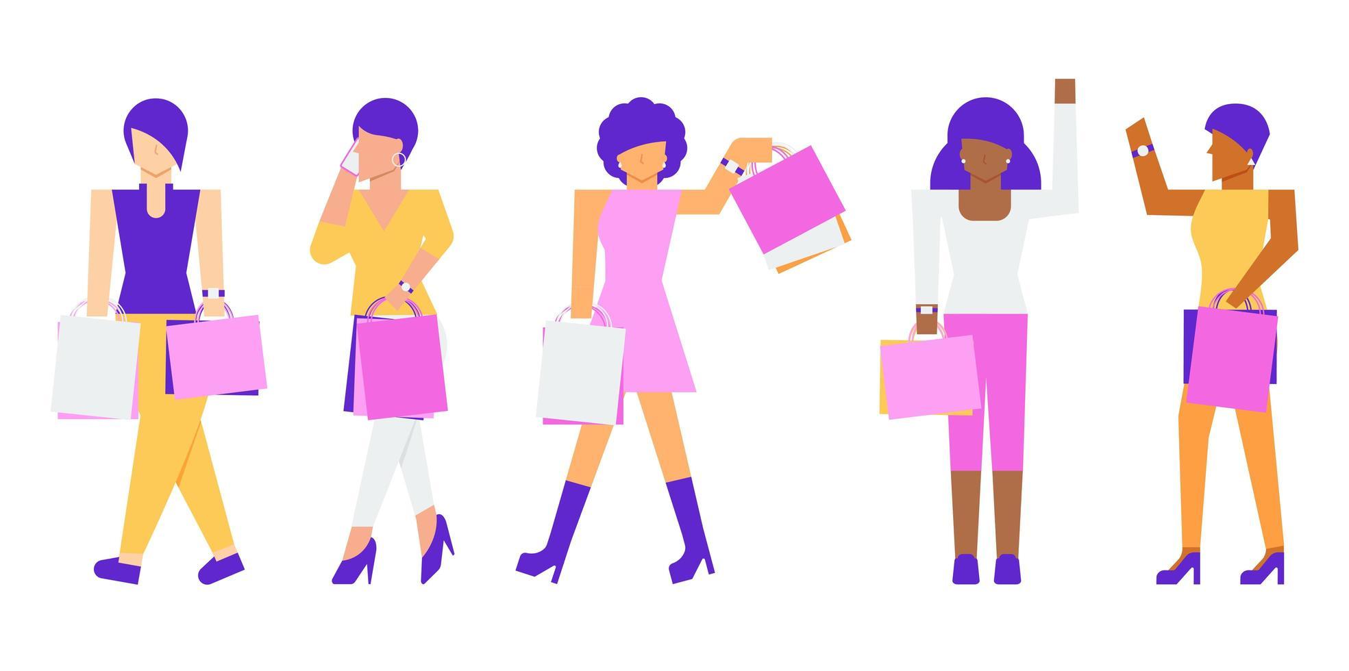 shopping di personaggi di donna vettore