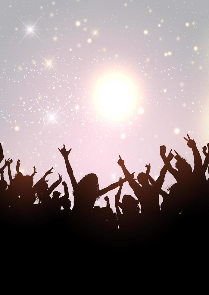 folla di festa su un cielo scintillante d'argento vettore