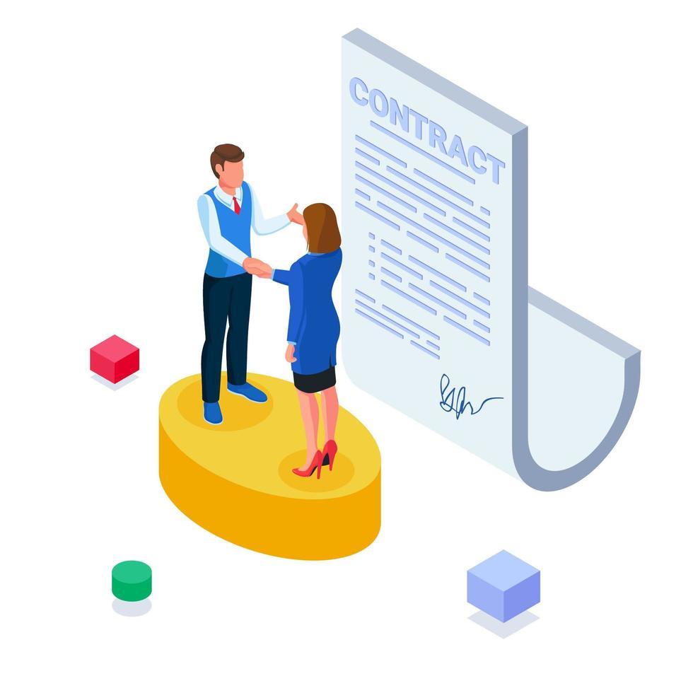 uomini d'affari che firmano accordi contrattuali vettore