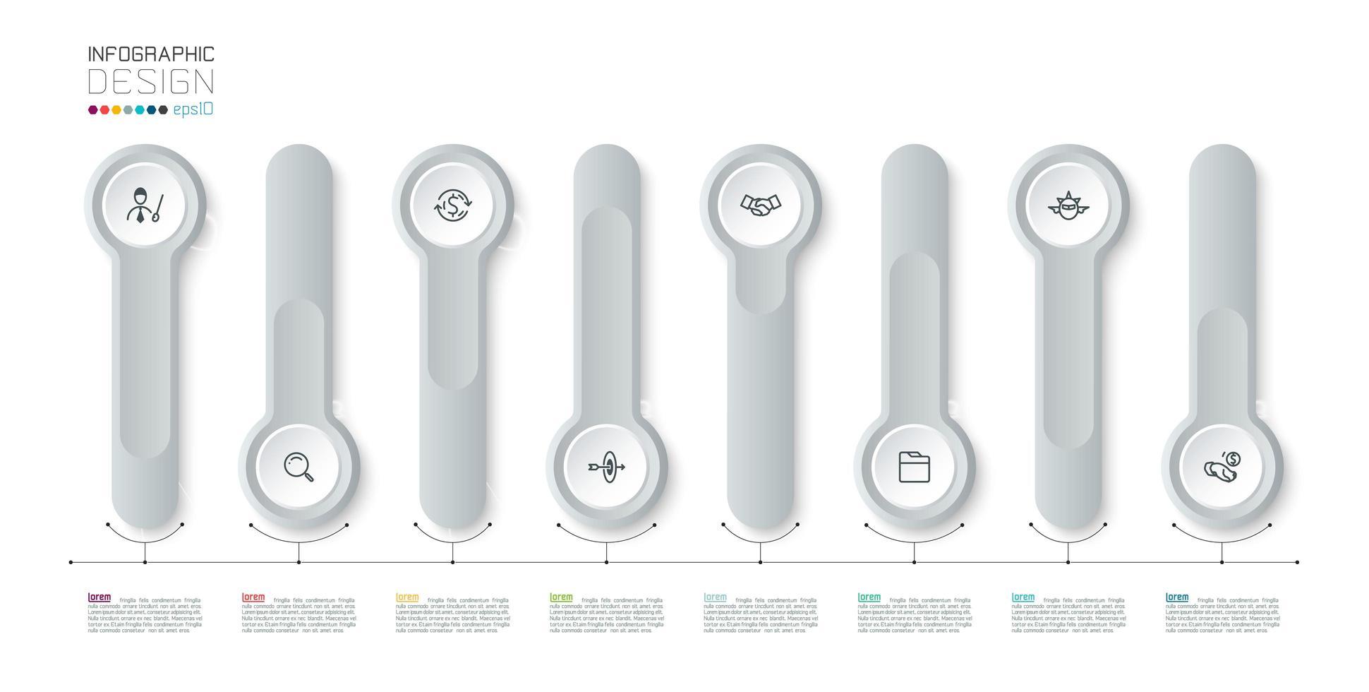 3d argento cerchio lungo etichetta infografica vettore