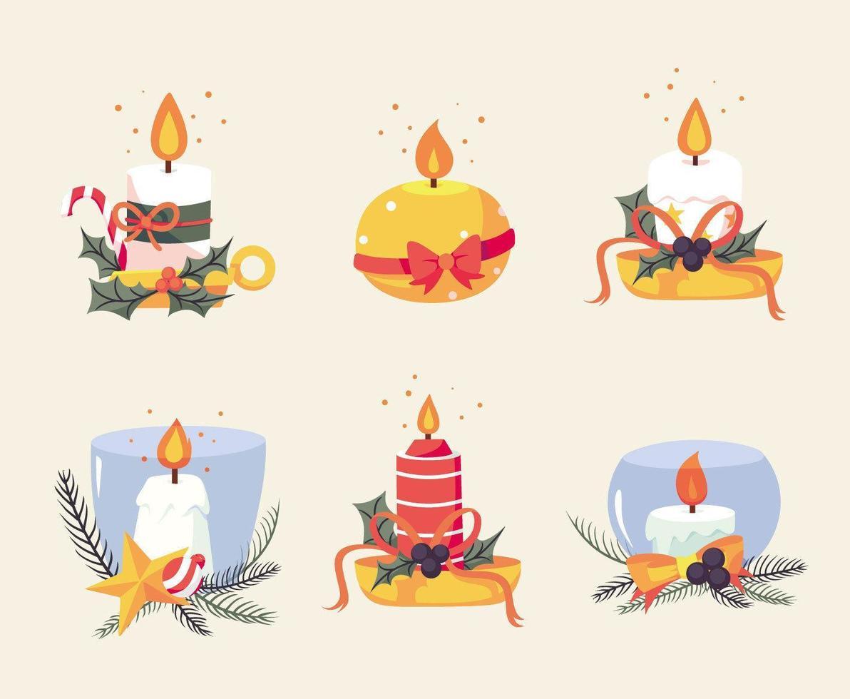 set di candele natalizie vettore