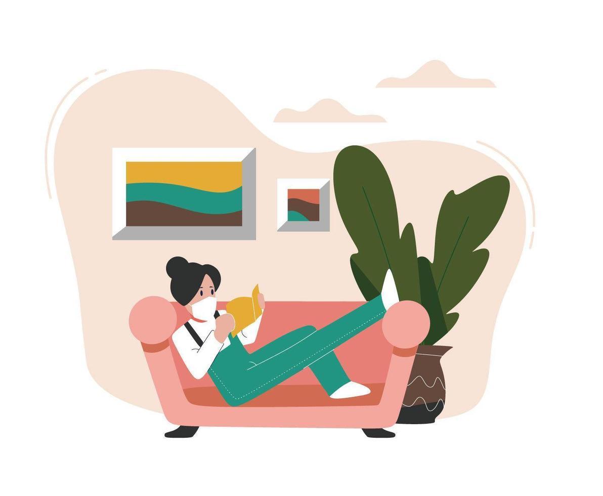 donna mascherata che si rilassa a casa concetto vettore