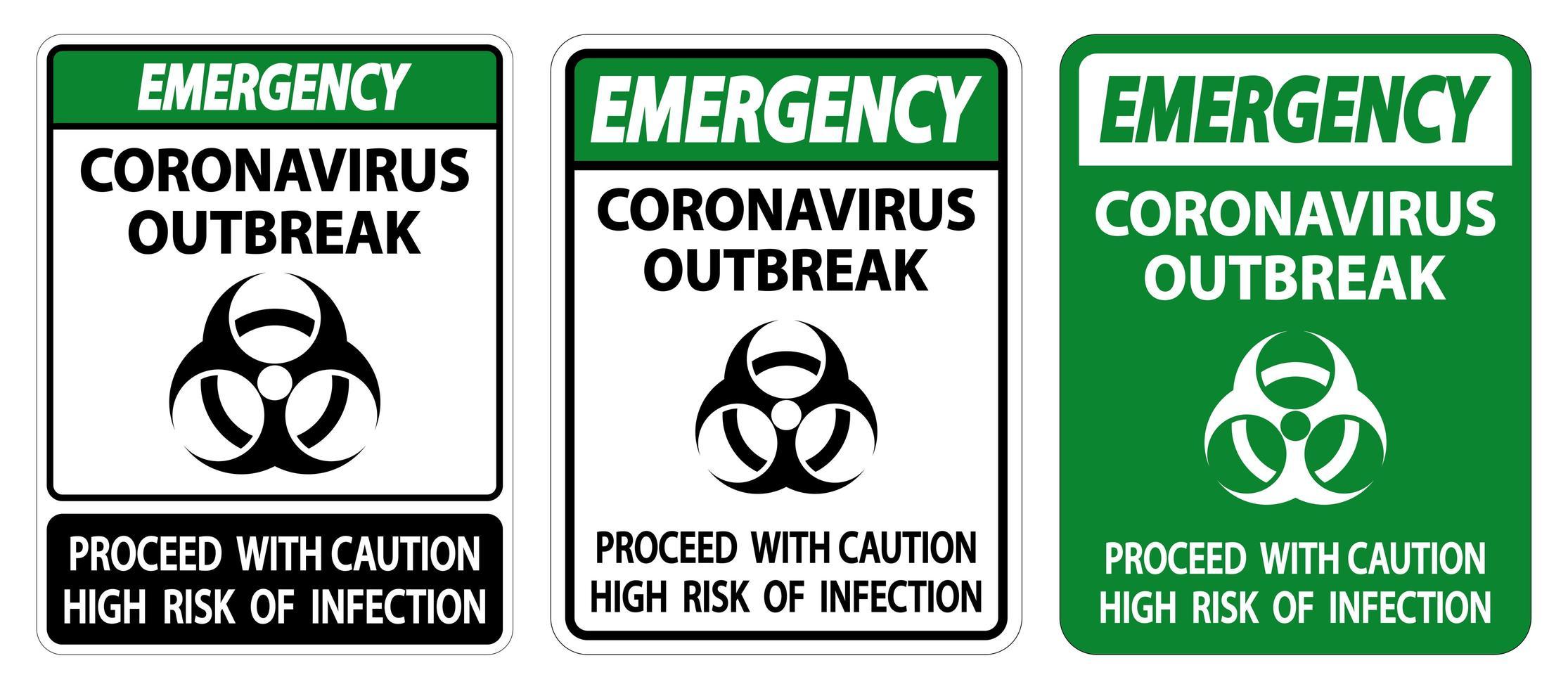 set di segni di epidemia di coronavirus vettore