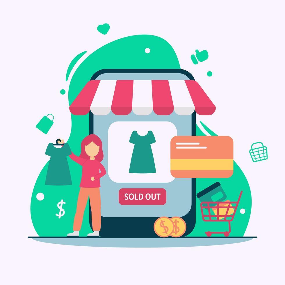 concetto di acquisto dello smartphone di commercio elettronico vettore