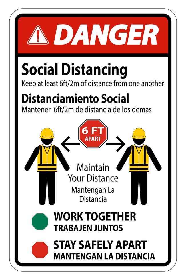 """segno di costruzione """"pericolo"""" bilingue """"distanza sociale"""" vettore"""