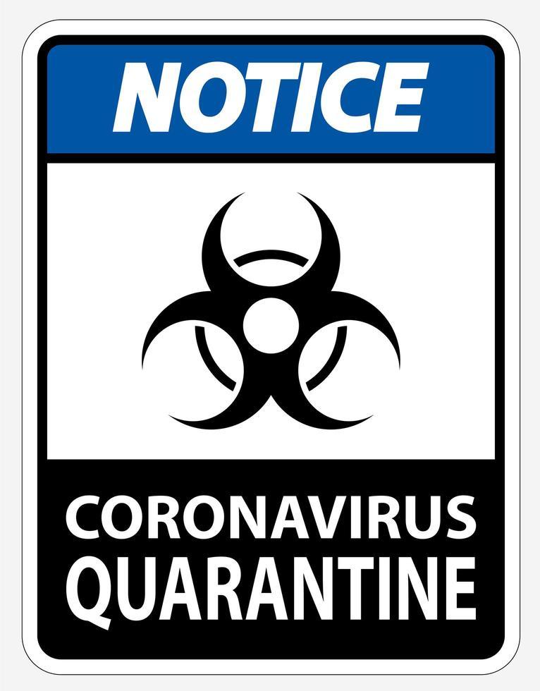 """segno blu """"nero"""" di quarantena di coronavirus vettore"""
