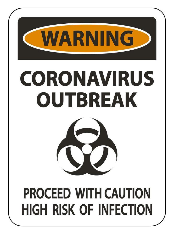 coronavirus '' avvertimento '' segno di epidemia vettore