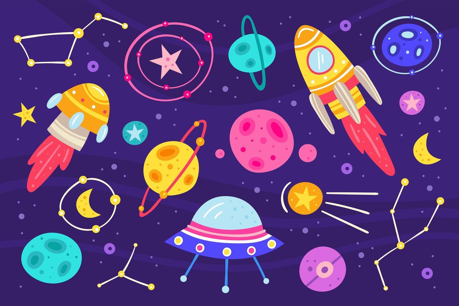 set di elementi di spazio colorato vettore