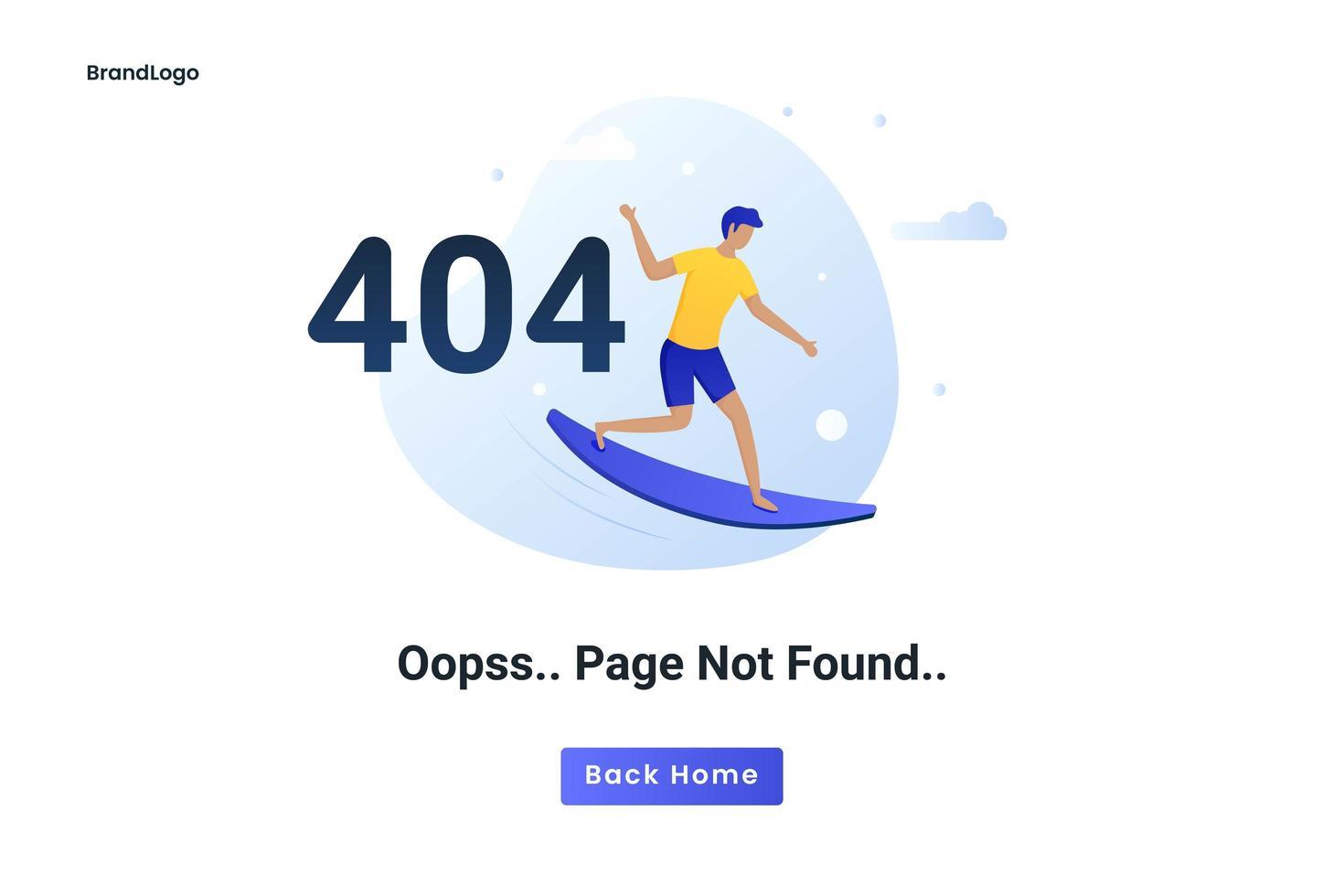 pagina di errore del concetto piatto 404 non trovata vettore