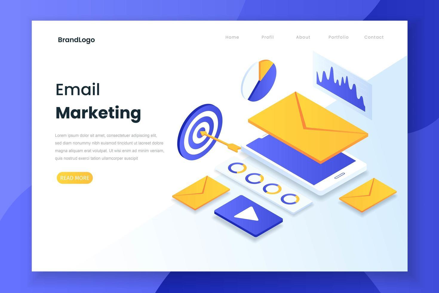 e-mail marketing landing page concetto vettore