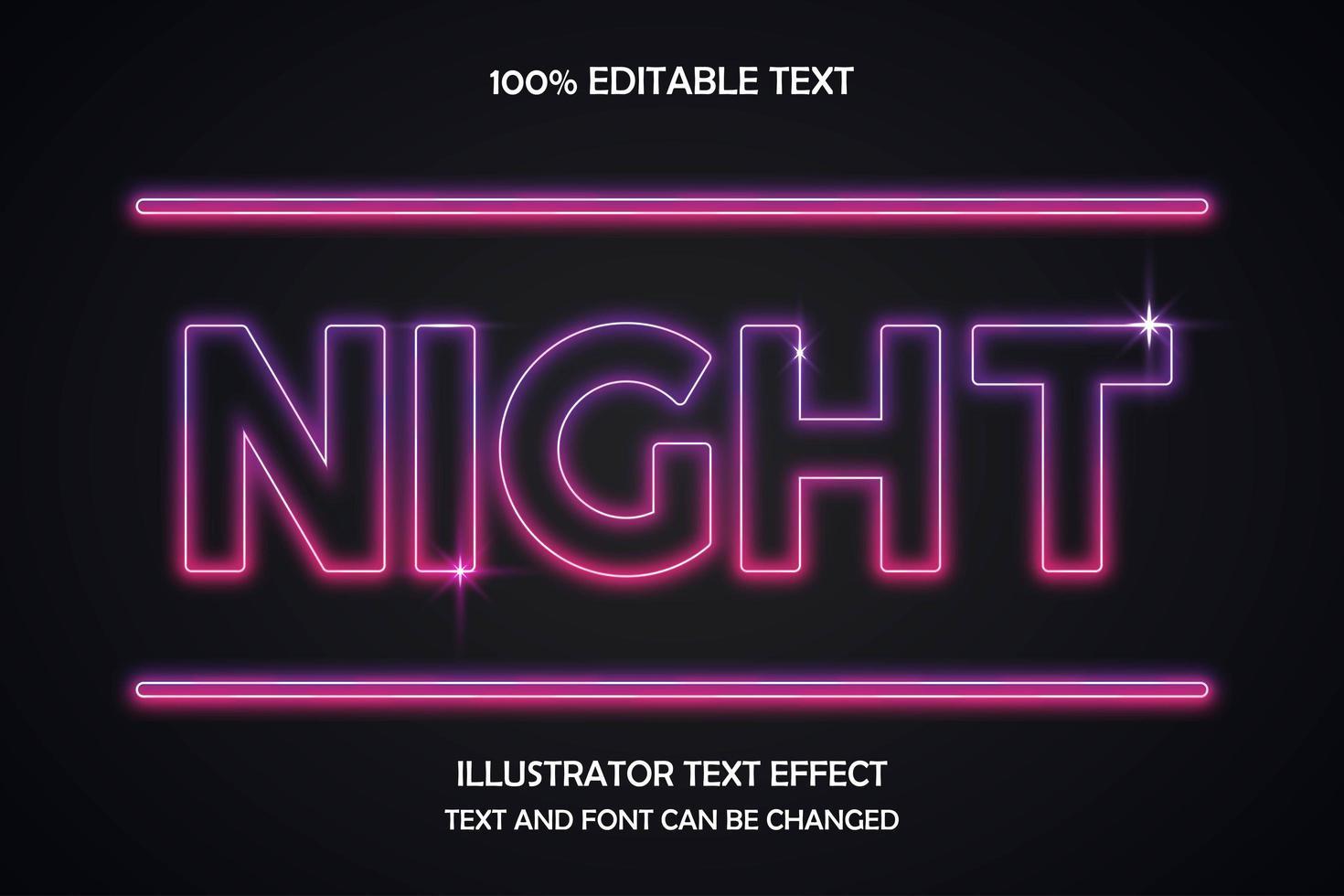 effetto di testo modificabile di notte vettore