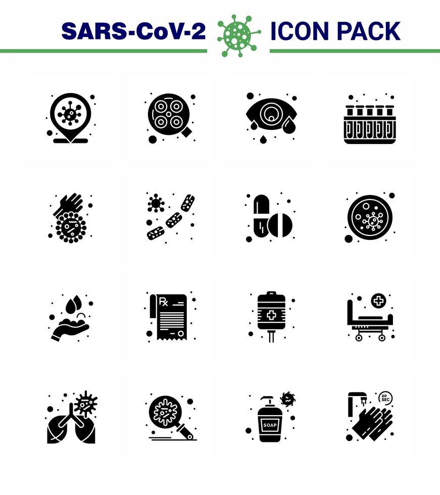icon pack in coronavirus nero solido incluso sapone vettore