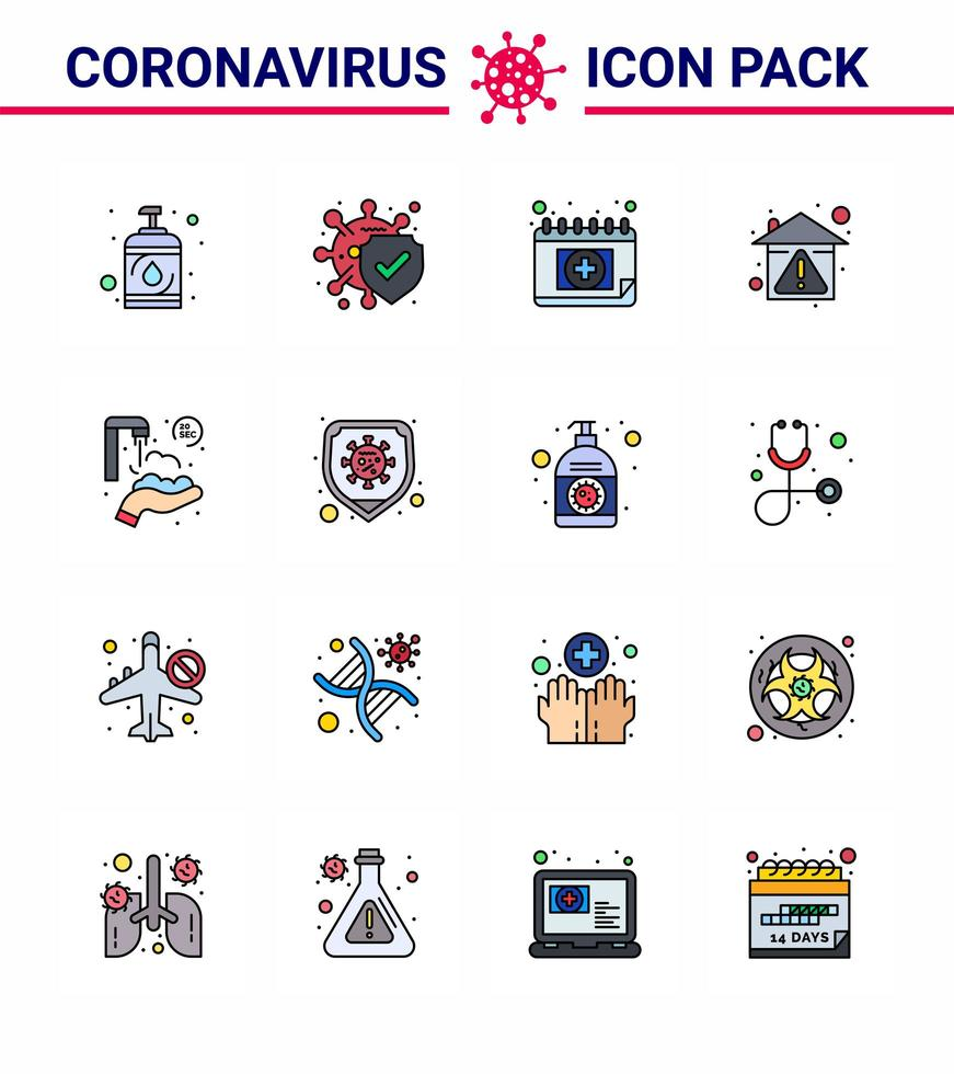 icon pack colorato coronavirus incluso calendario vettore