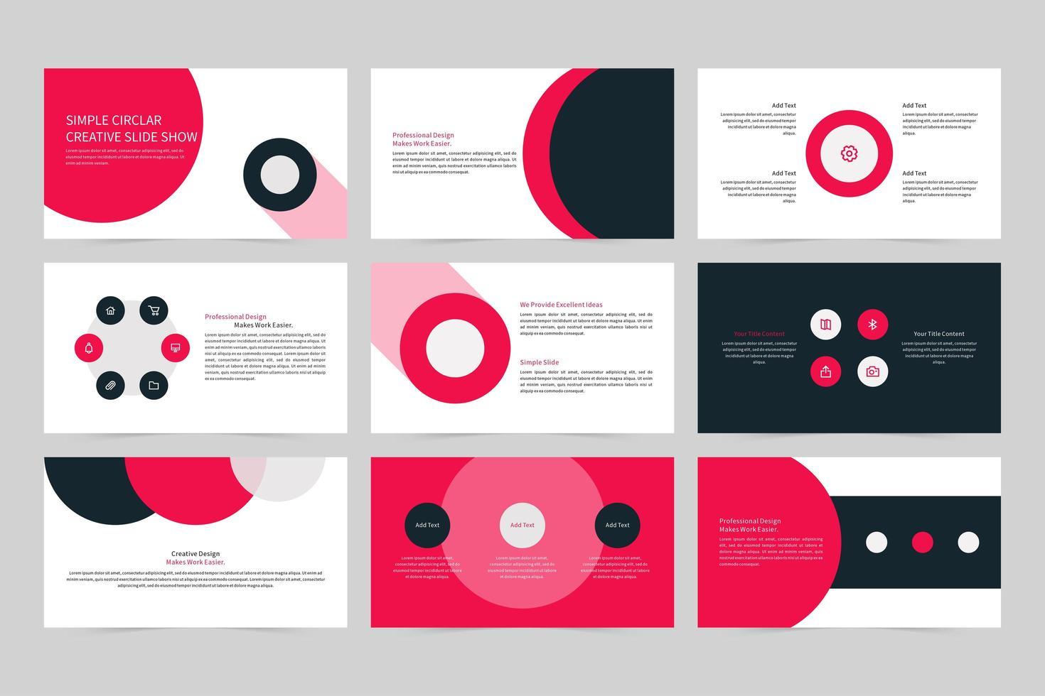 set di slide show creativo circolare semplice vettore