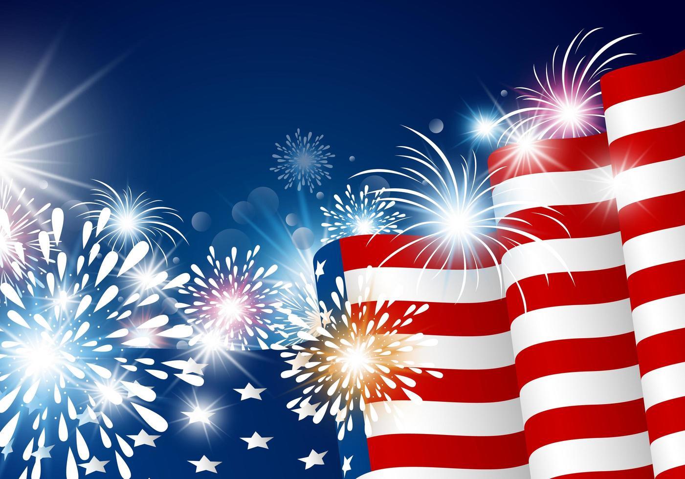 design luminoso con bandiera usa e fuochi d'artificio vettore